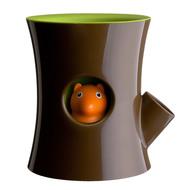 Qualy Горшок самополивающийся Log&Squirrel, коричневый-зеленый
