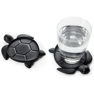 Qualy Подставка под стаканы Save Turtle, черная