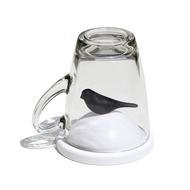 Qualy Чашка с крышкой Sparrow (300 мл), белая с черным