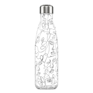 Chilly's Bottles Термос Line Drawing Faces (500 мл), белый