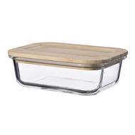 Smart Solutions Контейнер для еды стеклянный (640 мл), с крышкой из бамбука