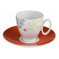 Guy Degrenne Чашка с блюдцем кофейная Modulo Texto, оранжевая