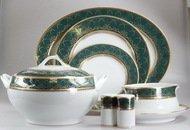 Yamasen Сервиз столовый на 12 персон, зеленый с золотом, 55 пр.
