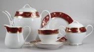 Yamasen Сервиз чайный на 12 персон, красный c золотым узором, 41 пр.