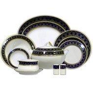 Yamasen Сервиз столовый на 12 персон, синий с золотом, 55 пр.