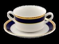 Leander Чашка для супа Сабина Сине-золотая лента (0.3 л) с блюдцами