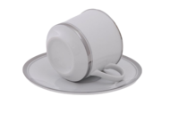 Leander Набор чашек Сабина Изящная платина (0.1 л) с блюдцами, 6 шт.