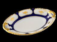 Leander Блюдо овальное Соната Темно-синий орнамент с золотом, 17 см
