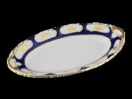 Leander Блюдо овальное Соната Темно-синий орнамент с золотом, 23 см