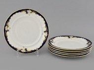 Leander Набор тарелок Соната Темно-синяя окантовка с золотом, 19 см,6 шт.