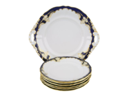 Leander Сервиз для торта Соната Темно-синяя окантовка с золотом, 7 пр.