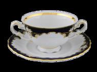 Leander Чашка для супа Соната Темно-синяя окантовка с золотом (0.35 л)