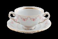 Leander Чашка для супа Соната Розовая нить (0.35 л) с блюдцем