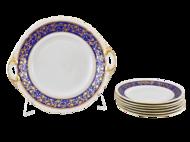 Leander Сервиз для торта Соната Золотые узоры на синем, 7 пр.