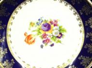 Leander Ваза Мэри-Энн Темно-синяя окантовка с цветами, 32 см, гигант