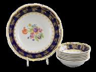 Leander Набор салатников Мэри-Энн Темно-синяя окантовка с цветами, 7 пр.