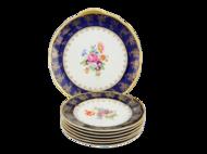 Leander Сервиз для торта Мэри-Энн Темно-синяя окантовка с цветами, 7 пр.