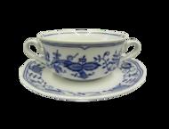 Leander Чашка для супа Мэри-Энн Гжель (0.35 л) с блюдцем, 2 ручки