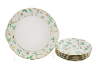 Leander Сервиз для торта Мэри-Энн Зелень и золото, 7 пр.