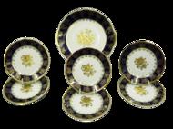 Leander Сервиз для торта Мэри-Энн Темно-синяя окантовка с золотом, 7 пр.