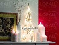 Globall Concept Светодиодный конус в сизале, 35 LED, белый, 80 см