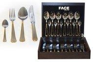 Face Набор столовых приборов на 6 персон Falperra Gold, 24 пр., в деревянной коробке