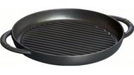Staub Сковорода-гриль круглая, 26 см, чугунная с двумя ручками