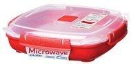 Контейнер Microwave (880 мл), 21х21х6 см, квадратный, красный