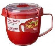 Sistema Кружка суповая Microwave (900 мл), 13х12.5 см, красная