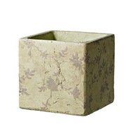 Deroma Кашпо Tea Quadro Beige, бежевое, 15.5x15 см
