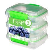 Sistema Набор контейнеров Fresh (200 мл), 11.5х9х12 см, 3 шт, зеленый