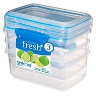Sistema Набор контейнеров Fresh (1 л), 17.5х11.7х16 см, 3 шт, голубой