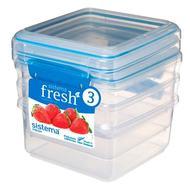 Sistema Набор контейнеров Fresh (1.2 л), 15.5х15х16 см, 3 шт, голубой