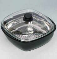 Riess Сотейник профессиональный Swarzemaille, 28х28х10 см, со вставкой для рыбы и стеклянной крышкой
