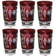 Ajka Crystal Набор стаканов высоких Grape (390 мл), темно-бордовых, 6 шт