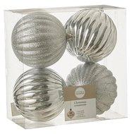 Triumph Nord Набор декоративных шаров, 10 см, серебро, 4 шт.