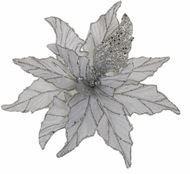 Triumph Nord Рождественский цветок декоративный, 30 см, серебро, блеск, клипса, 24шт.