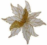 Triumph Nord Рождественский цветок декоративный, 30 см, золото, блеск, клипса, 24шт.