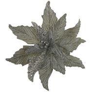 Triumph Nord Рождественский цветок декоративный, 30 см, серебро, клипса, 24шт.