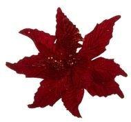 Triumph Nord Рождественский цветок декоративный, 30 см, красный, клипса, 24шт.