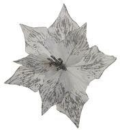 Triumph Nord Рождественский цветок декоративный, 30 см, серебро, блеск, клипса