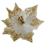 Triumph Nord Рождественский цветок декоративный, 30 см, золото, блеск, клипса