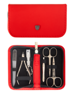 Drei Schwerter Маникюрный набор Solingen Kellermann L 52139 F N CUT, 6 пр. с кутикульными кусачками, футляр кожаный, красный
