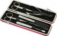 GD Маникюрный набор GD, 6пр., покрытие никель, футляр из натуральной кожи, 20х6.5 см, розовый