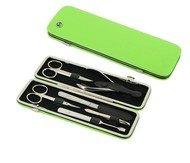 GD Маникюрный набор GD, 6пр., покрытие никель, футляр из натуральной кожи, 20х6.5 см, зеленый