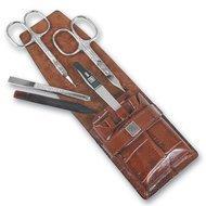 Yes Маникюрный набор, 5 пр., футляр из натуральной кожи, коричневый
