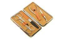 Dewal Маникюрный набор, 5 пр., в чехле из натуральной кожи, желто-оранжевый