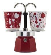 Bialetti Гейзерная кофеварка Mini Express Cuore, с 2 чашками