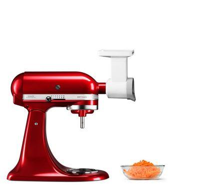 Насадка овощерезка, 3 ножаНасадки и Аксессуары<br>Овощи и фрукты – как вареные, так и сырые – с помощью вращающейся насадки-овощерезки измельчаются за считанные секунды. Теперь тереть, шинковать или резать их ломтиками очень легко: салаты готовятся за считанные секунды. Для различных видов измельчения в комплекте с насадкой идет слайсер, средняя и мелкая терка.<br>