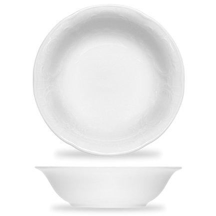 Салатник Mozart (0.37 л), 16.1 см, белыйСалатницы, Супницы<br>В небольшом по объему салатнике удобно подавать каждому гостю отдельное порционном блюдо. Элегантный салатник из белоснежного фарфора украшен нежным орнаментом.<br><br>Серия: Mozart